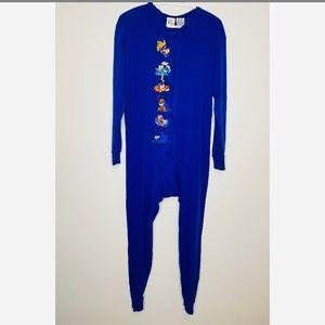 Vintage Disney Winnie the Pooh Onesie Pajamas Blue